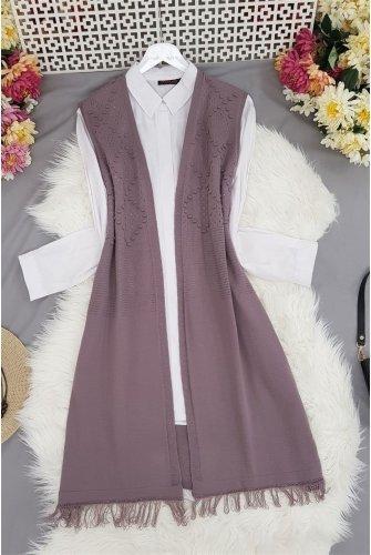 Tasseled Ponponlu Knitwear Vest -Lila