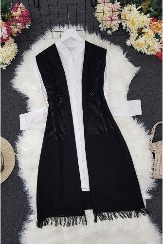 Tasseled Ponponlu Knitwear Vest -Black