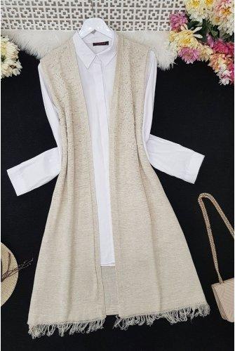Tasseled Ponponlu Knitwear Vest -Stone