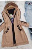 Şerit Topped Penye Women-Jackets -Mink