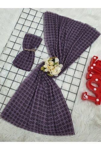 Simge Baskılı İnce Scarf -Purple
