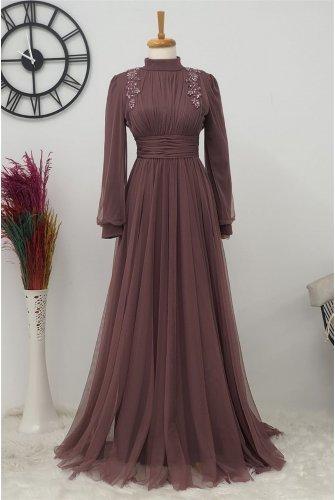 Stone Detailed Tüllü Dress -Rose Kurusu