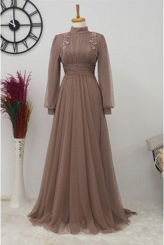 Stone Detailed Tüllü Dress -Light Pink