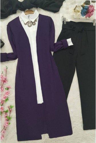 Long Knitwear Cardigan -Purple