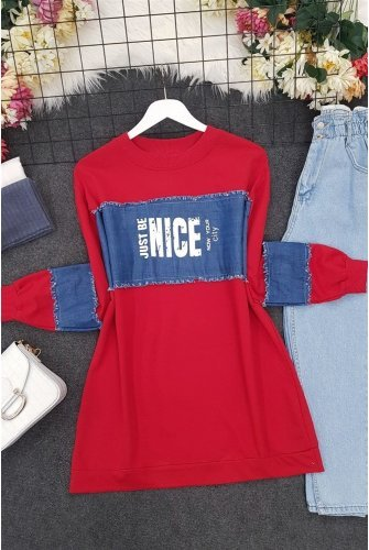 Front and Arm Jeans Topped Penye Sweat -Red