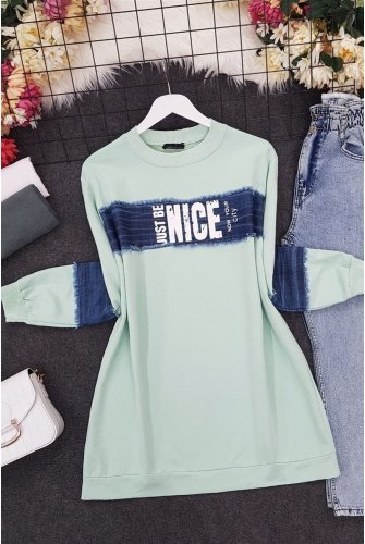 Front and Arm Jeans Topped Penye Sweat -Water green