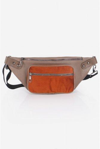 Mink Velvet Pockets Leather Waist bag