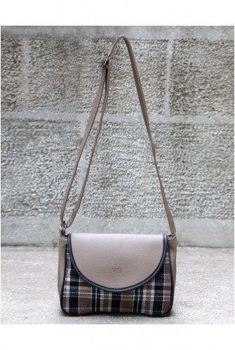 Mink Stamping fabric Plaid Kapaklı Cross Bag