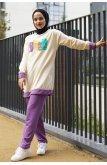 Whatever Written Double Color Penye Suit -Purple