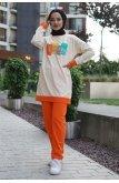 Whatever Written Double Color Penye Suit -Orange