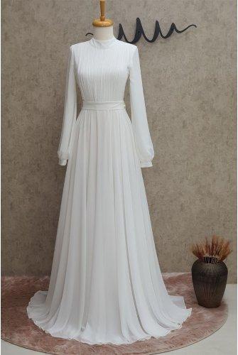 Yakası Piliseli Dress -Ekru