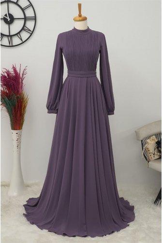 Yakası Piliseli Dress -Purple