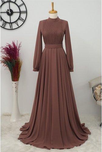 Yakası Piliseli Dress -Light Pink