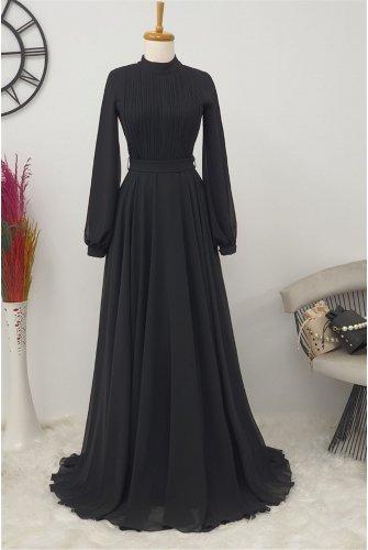 Yakası Piliseli Dress -Black