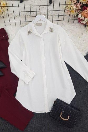 Yakası stony Tunics -White