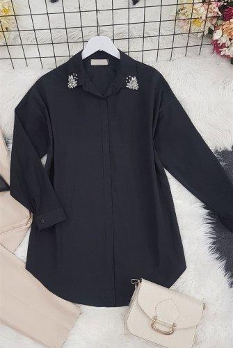 Yakası stony Tunics -Black