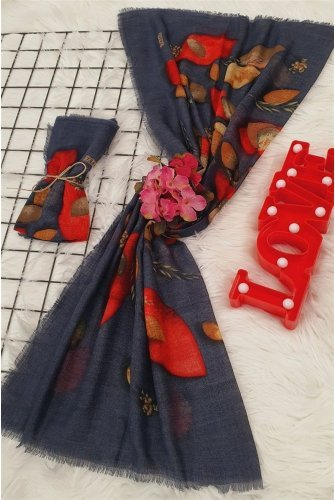 Leaf Patterned Scarf -Smoked