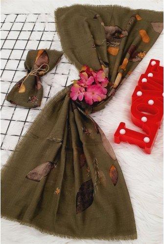Leaf Patterned Scarf -Khaki
