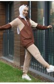Half Throat Asymmetric Kesim Penye Suit -Brown