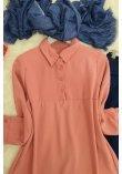 Half Button Ayrobin Tunics -Light Pink
