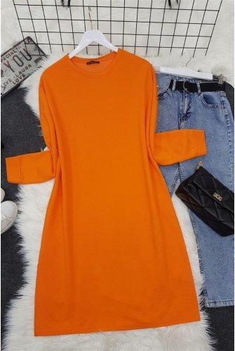 slit Flat Penye Tunics   -Orange