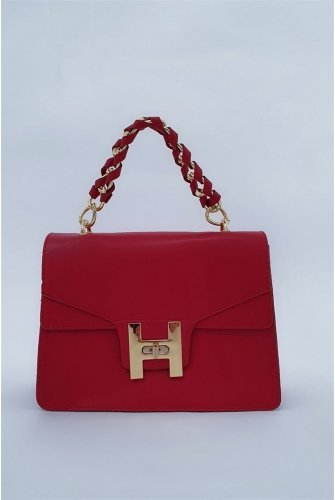 chained Locked Kadın Bag -Red