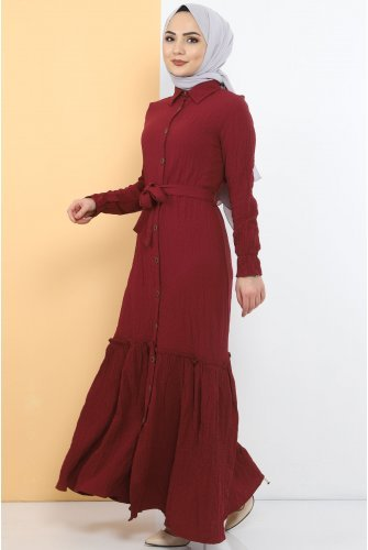 baggy Hijab Dress TSD1515 Claret Red