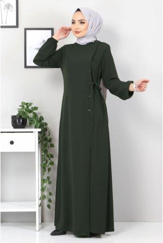 Hand-Linked Abayas TSD2036 Khaki