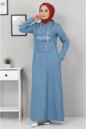 Written on it Embroidered Jeans Dress