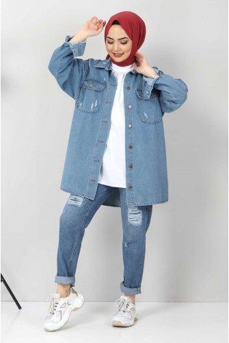 Yıpratmalı Jeans Jacket TSD1225 Light blue
