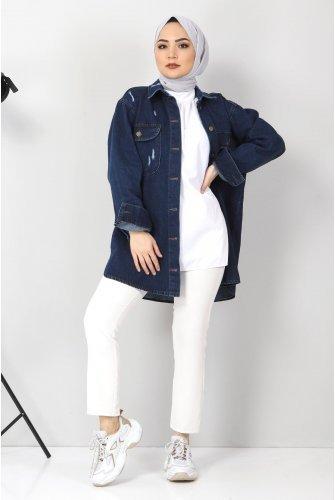 Yıpratmalı Jeans Jacket TSD1225 Dark Blue