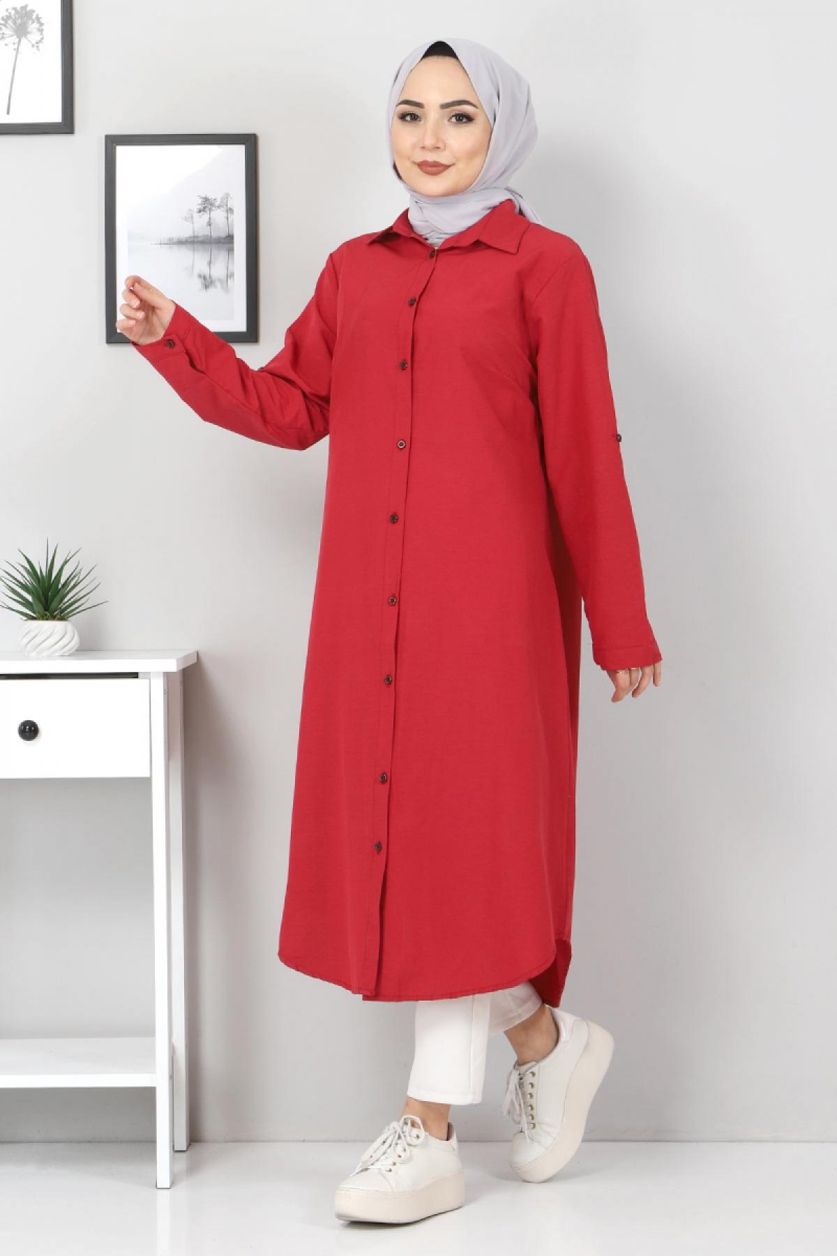 Plus Size Long Tunics TSD2565 Claret Red