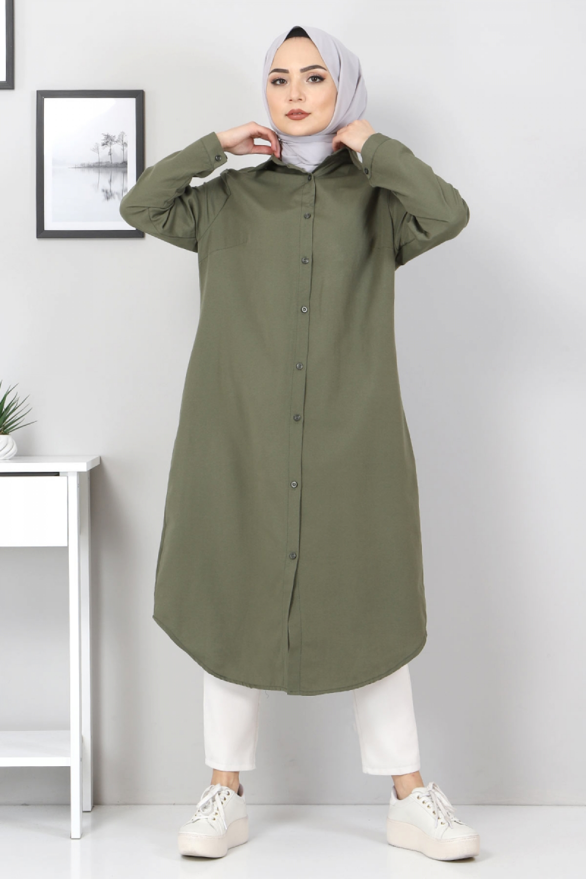 Plus Size Long Tunics TSD2565 Khaki