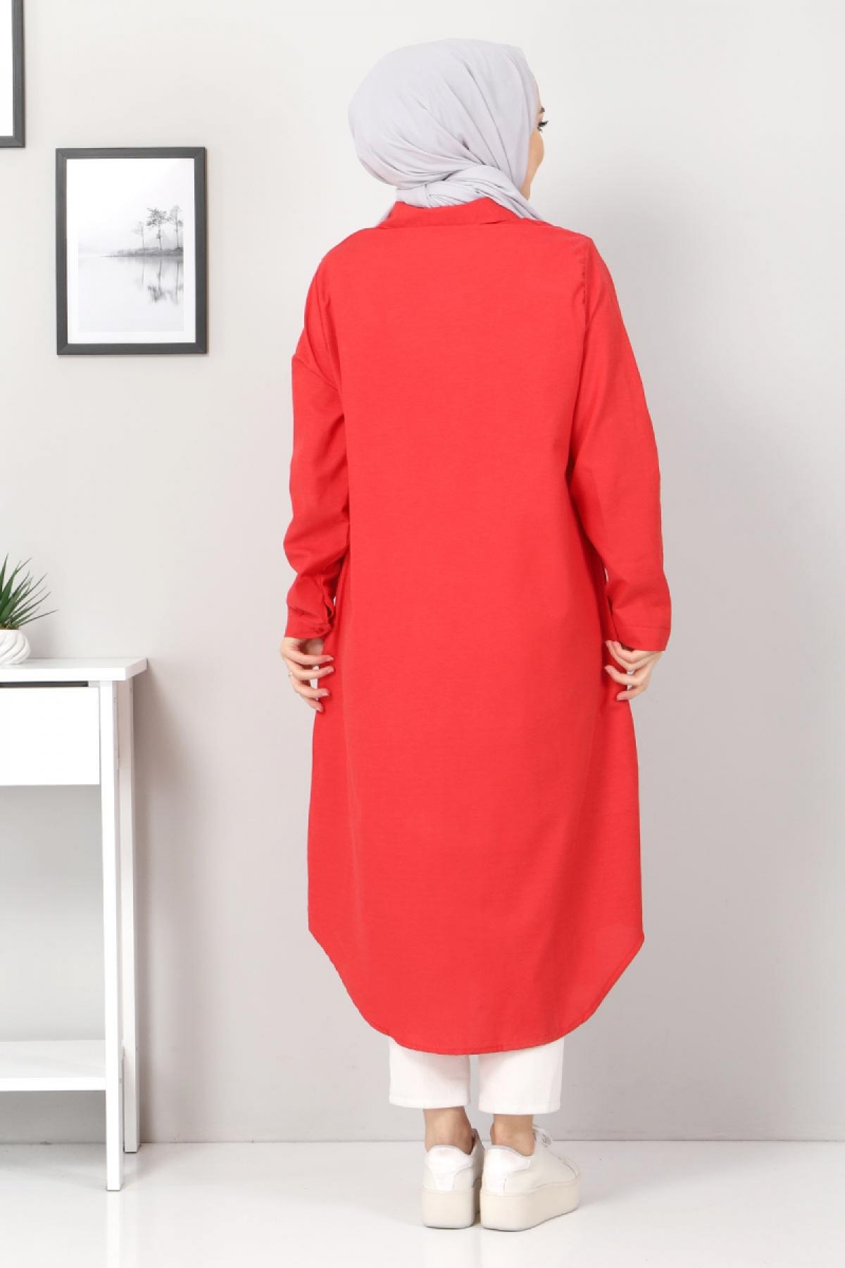 Plus Size Long Tunics TSD2565 Red