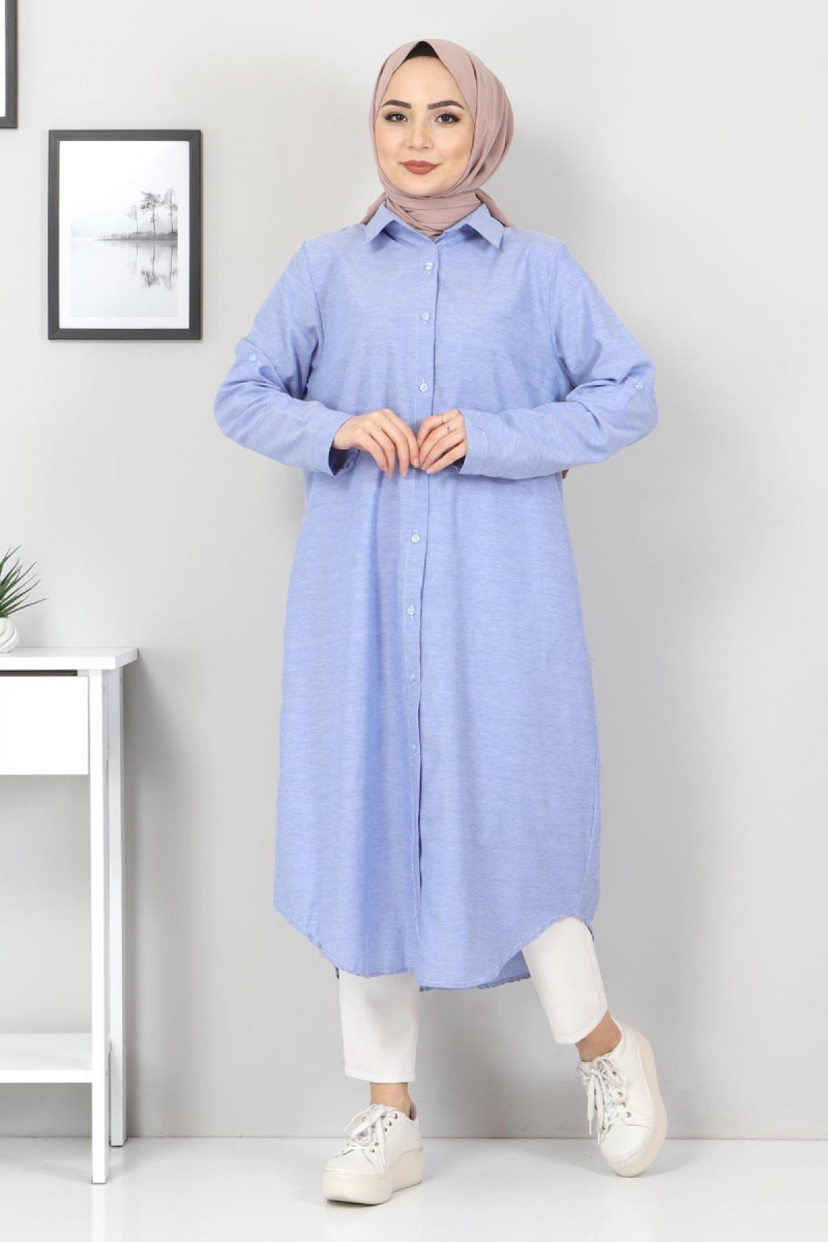 Plus Size Long Tunics TSD2565 Dark Blue