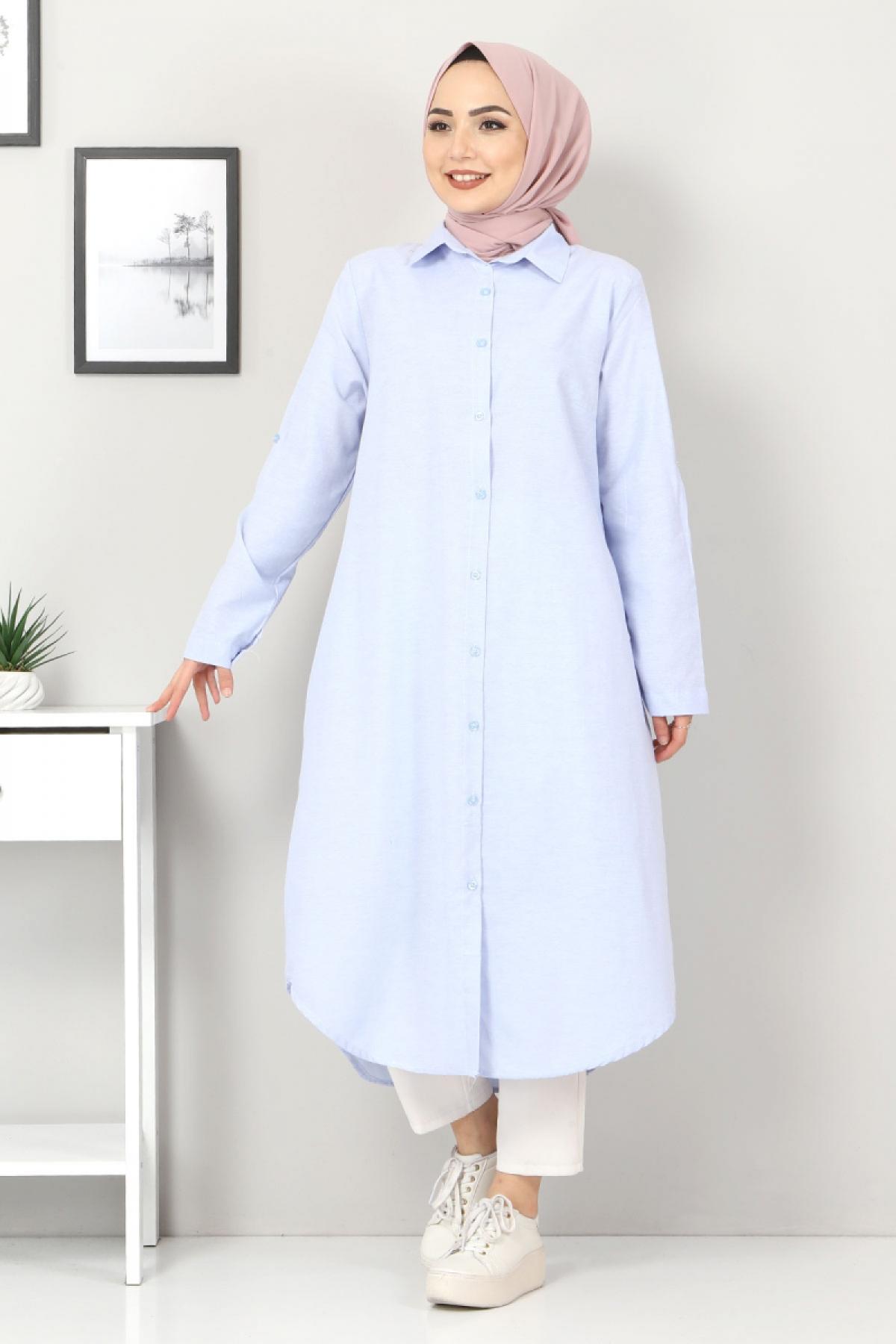 Plus Size Long Tunics TSD2565 Light blue