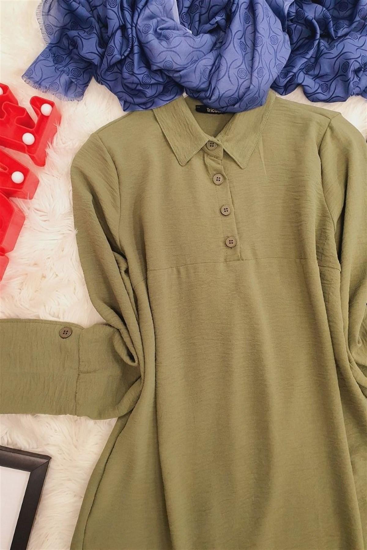 Half Button Ayrobin Tunics -Khaki